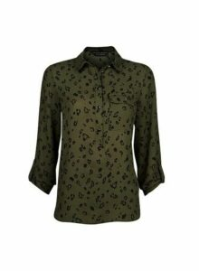 Womens Olive Printed Roll Sleeve Shirt- Green, Green