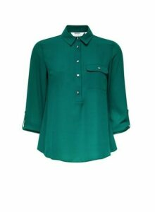 Womens Petite Green Roll Sleeve Shirt, Green