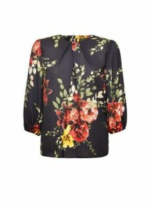 Womens Black And Red Floral Print Blouse, Black