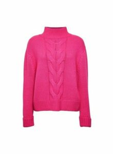 Womens Pink Cable Funnel Neck Jumper- Pink, Pink