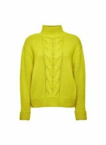 Womens Lime Cable Funnel Neck Jumper- Green, Green
