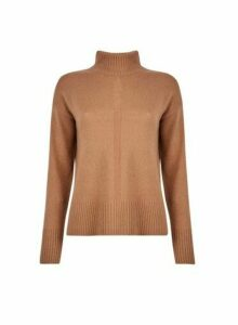 Womens Camel Spandex High Neck Jumper- Brown, Brown