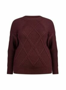 Womens **Dp Curve Oxblood Diagonal Jumper- Red, Red