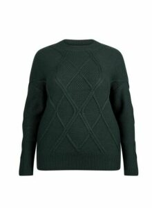 Womens Dp Curve Green Diagonal Jumper, Green