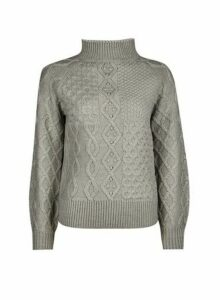 Womens Petite Grey Cable Jumper, Grey