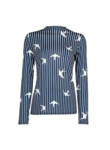 Womens Blue Swallow Print High Neck Top, Blue