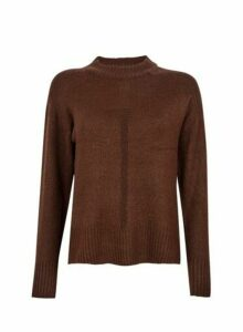 Womens Chocolate Spandex Step Hem Jumper- Brown, Brown