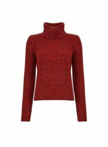 Womens Rust Chunky Roll Neck Jumper- Red, Red