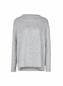 Womens **Only Grey High Neck Jumper, Grey