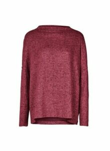 Womens **Only Wine High Neck Jumper- Red, Red