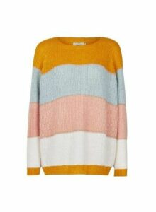 Womens **Only Multi Coloured Stripe Print Knitted Jumper- Yellow, Yellow