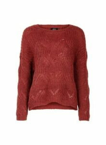 Womens **Only Wine Knitted Jumper- Red, Red