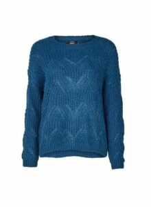 Womens **Only Blue Knitted Jumper, Blue