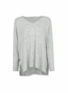 Womens **Only Grey V-Neck Jumper, Grey