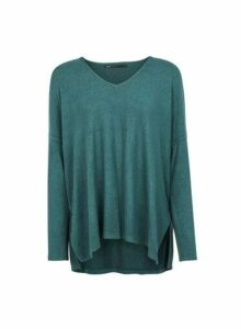 Womens **Only Green V-Neck Jumper, Green