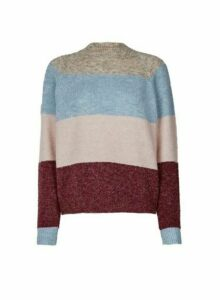 Womens **Only Multi Colour Knitted Wool Look Jumper- Grey, Grey