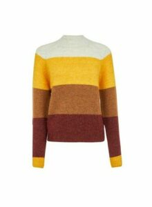 Womens **Only Multi Colour Knitted Wool Look Jumper- Brown, Brown