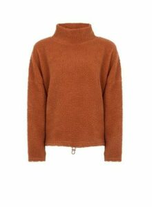 Womens **Only Brown Roll Neck Jumper, Brown