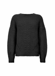 Womens Black Cable Bardot Jumper- Black, Black
