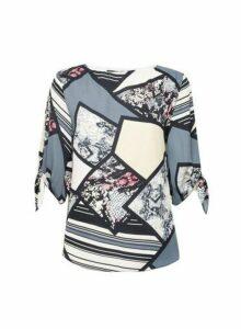 Womens **Billie & Blossom Multi Coloured Snake Print Tie Sleeve Blouse- Black, Black