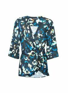 Womens **Billie & Blossom Multi Coloured Leopard Print Knot Blouse- Cobalt, Cobalt