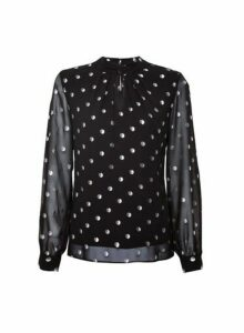 Womens **Billie & Blossom Black Spot Print Trim Blouse- Black, Black