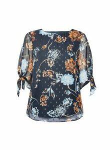 Womens **Billie & Blossom Navy Floral Print Tie Sleeve Top- Blue, Blue