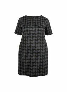 Womens **Dp Curve Grey Dogtooth Print Tunic Top, Grey