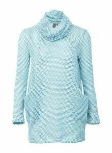 Womens *Izabel London Cyan Sheer Knitted Jumper- Green, Green