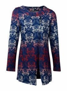 Womens *Izabel London Navy Damask Print Split Front Top- Blue, Blue
