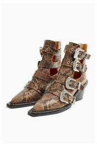 Womens Magic Leather Snake Buckle Western Boots - Natural, Natural
