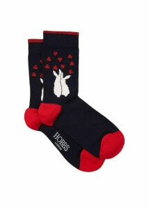Bunny Love Sock Navy Red