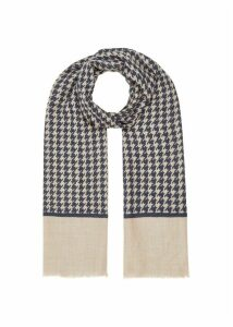 Hayley Wool Silk Blend Scarf Navy Neutral