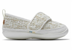 White Metallic Boucle Tiny TOMS Inca Slippers - Size UK8