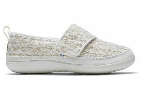TOMS White Metallic Boucle Youth Inca Slippers - Size UK3