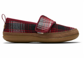 TOMS Red Plaid Youth Inca Slippers - Size UK4