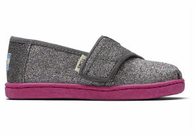 Grey Iridescent Glitter Tiny TOMS Classics Slip-On Shoes - Size UK3