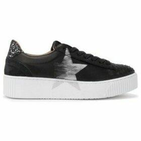 Nira Rubens  Cosmopolitan sneaker in black leather and boa print tongue  women's Shoes (Trainers) in Black