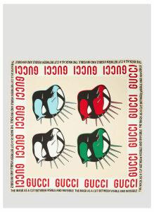 Gucci Masks Print Silk Scarf in Cream size One Size