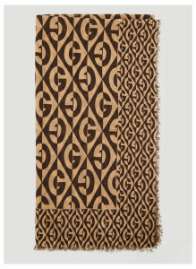 Gucci Geometric Logo Wool Scarf in Brown size One Size