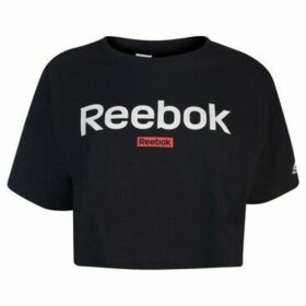 Reebok Sport  Linear Crop Top Ladies  women's Blouse in Black
