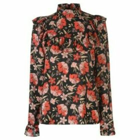 Blue Chameleon  Chemeleon Floral Ruffle Blouse Ladies  women's Blouse in Multicolour