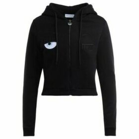 Chiara Ferragni  Chiara Ferragni zip sweatshirt in black cotton with flirting  women's Sweatshirt in Black