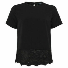 French Connection  Blouse with floral lace hem  women's Blouse in Black