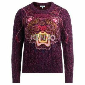 Kenzo  Tigre sweater in black and purple wool with multicolor tiger  women's Sweater in Pink