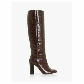 Dune Simonne Leather Block Heel Knee High Boots, Brown Croc
