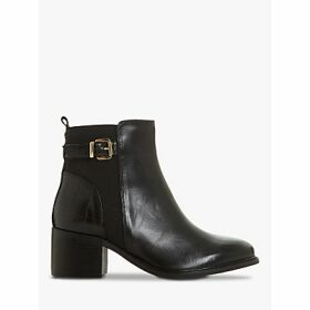 Dune Poetic Leather Buckle Block Heel Ankle Boots, Black