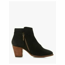 Dune Wide Fit Pontoon Block Heel Ankle Boots, Black Nubuck