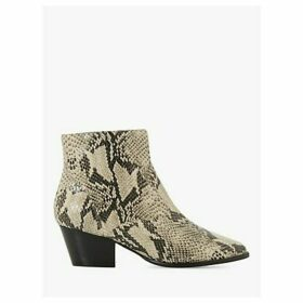 Dune Prairrie Leather Western Ankle Boots, Natural Reptile