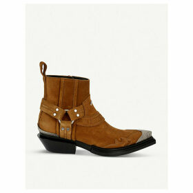 Santiag leather heeled ankle boots